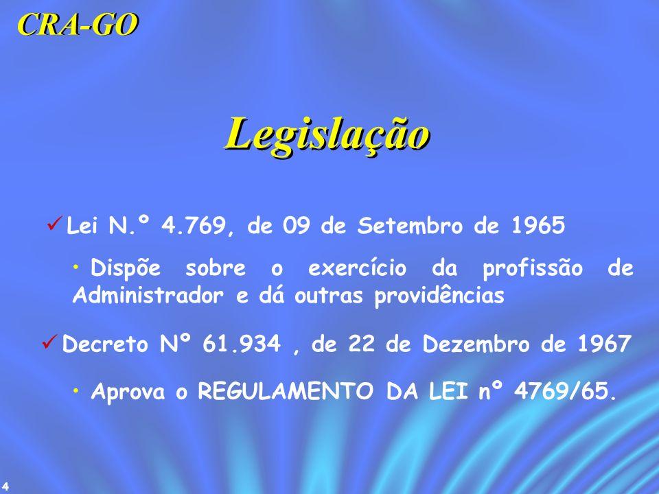 4 Legislação Lei N.º 4.769, de 09 de Setembro de 1965 Dispõe sobre o exercício da profissão de Administrador e dá outras providências Decreto Nº 61.93