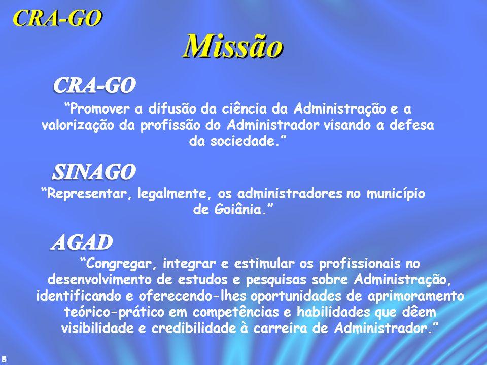 5 Missão Promover a difusão da ciência da Administração e a valorização da profissão do Administrador visando a defesa da sociedade. CRA-GO Representa