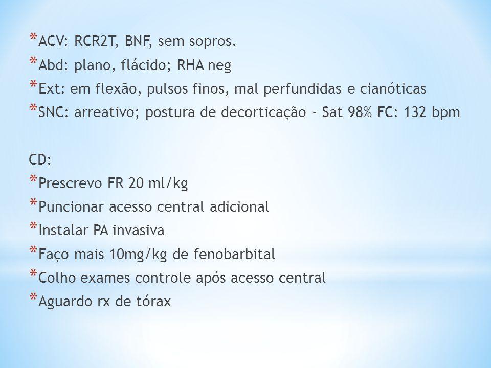 * ACV: RCR2T, BNF, sem sopros. * Abd: plano, flácido; RHA neg * Ext: em flexão, pulsos finos, mal perfundidas e cianóticas * SNC: arreativo; postura d