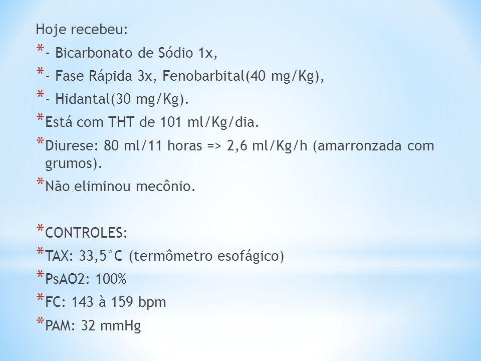 Hoje recebeu: * - Bicarbonato de Sódio 1x, * - Fase Rápida 3x, Fenobarbital(40 mg/Kg), * - Hidantal(30 mg/Kg). * Está com THT de 101 ml/Kg/dia. * Diur