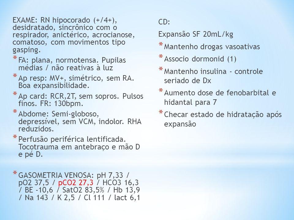 EXAME: RN hipocorado (+/4+), desidratado, sincrônico com o respirador, anictérico, acrocianose, comatoso, com movimentos tipo gasping. * FA: plana, no