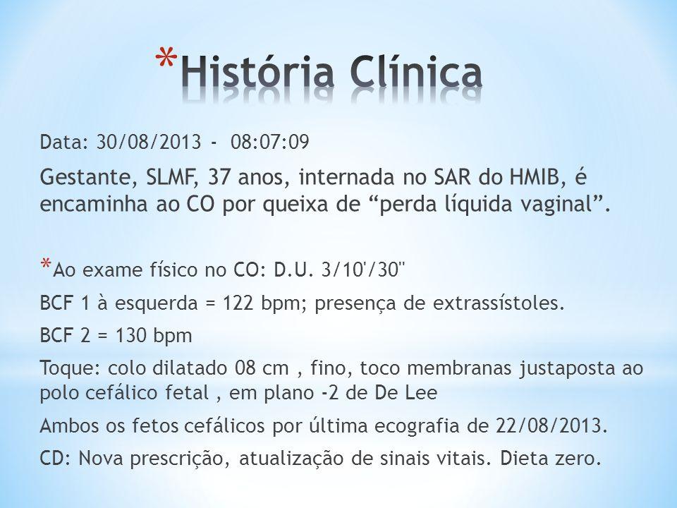 Data: 30/08/2013 - 08:07:09 Gestante, SLMF, 37 anos, internada no SAR do HMIB, é encaminha ao CO por queixa de perda líquida vaginal. * Ao exame físic