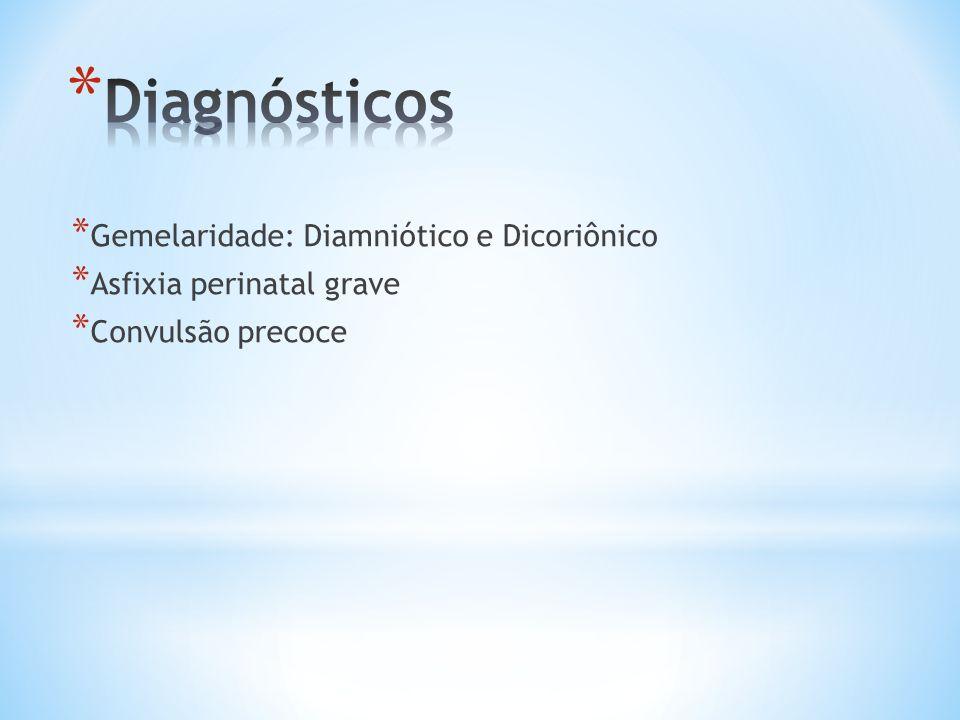 * Gemelaridade: Diamniótico e Dicoriônico * Asfixia perinatal grave * Convulsão precoce