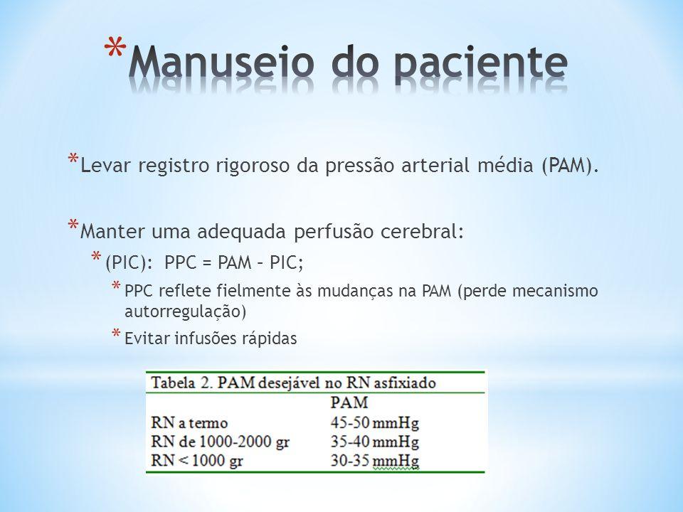 * Levar registro rigoroso da pressão arterial média (PAM). * Manter uma adequada perfusão cerebral: * (PIC): PPC = PAM – PIC; * PPC reflete fielmente
