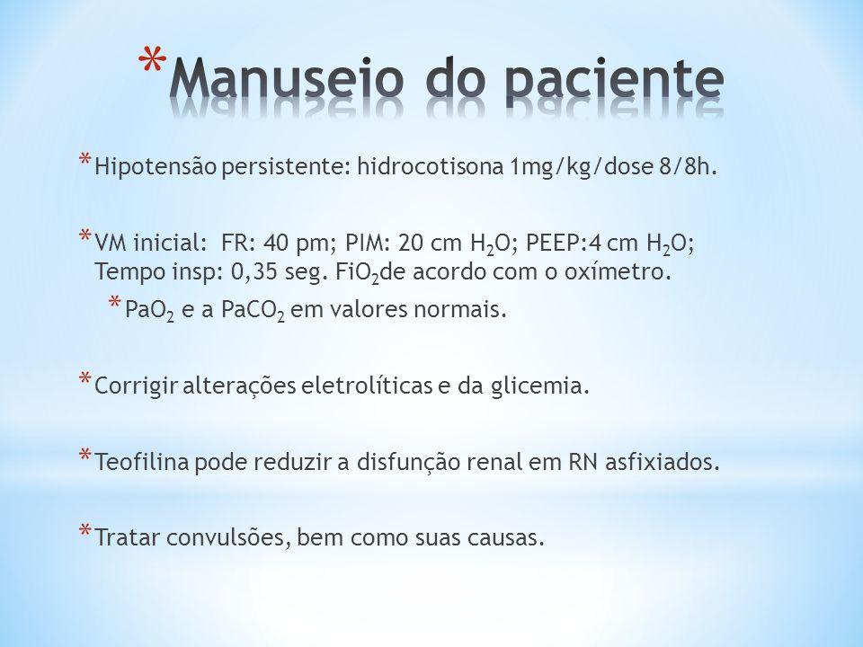 * Hipotensão persistente: hidrocotisona 1mg/kg/dose 8/8h. * VM inicial: FR: 40 pm; PIM: 20 cm H 2 O; PEEP:4 cm H 2 O; Tempo insp: 0,35 seg. FiO 2 de a