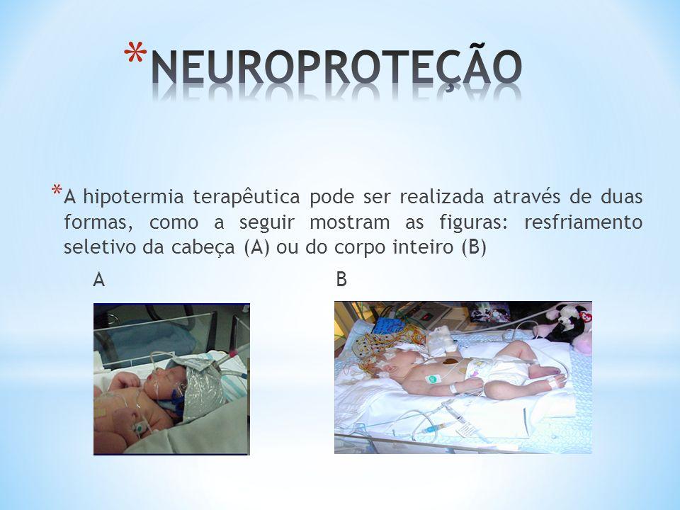 * A hipotermia terapêutica pode ser realizada através de duas formas, como a seguir mostram as figuras: resfriamento seletivo da cabeça (A) ou do corp