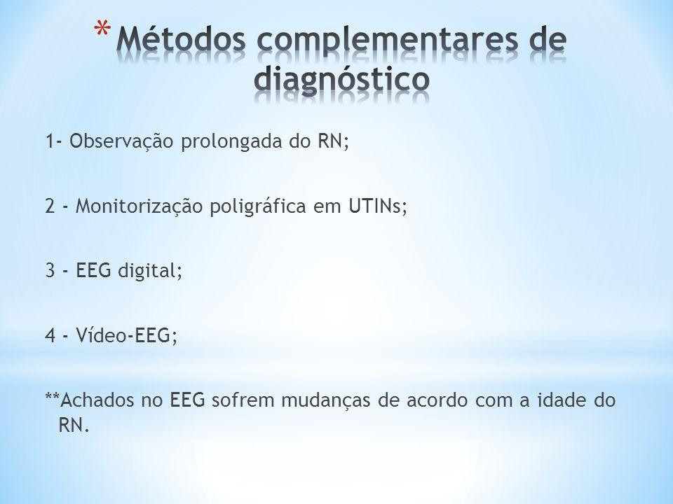 1- Observação prolongada do RN; 2 - Monitorização poligráfica em UTINs; 3 - EEG digital; 4 - Vídeo-EEG; **Achados no EEG sofrem mudanças de acordo com