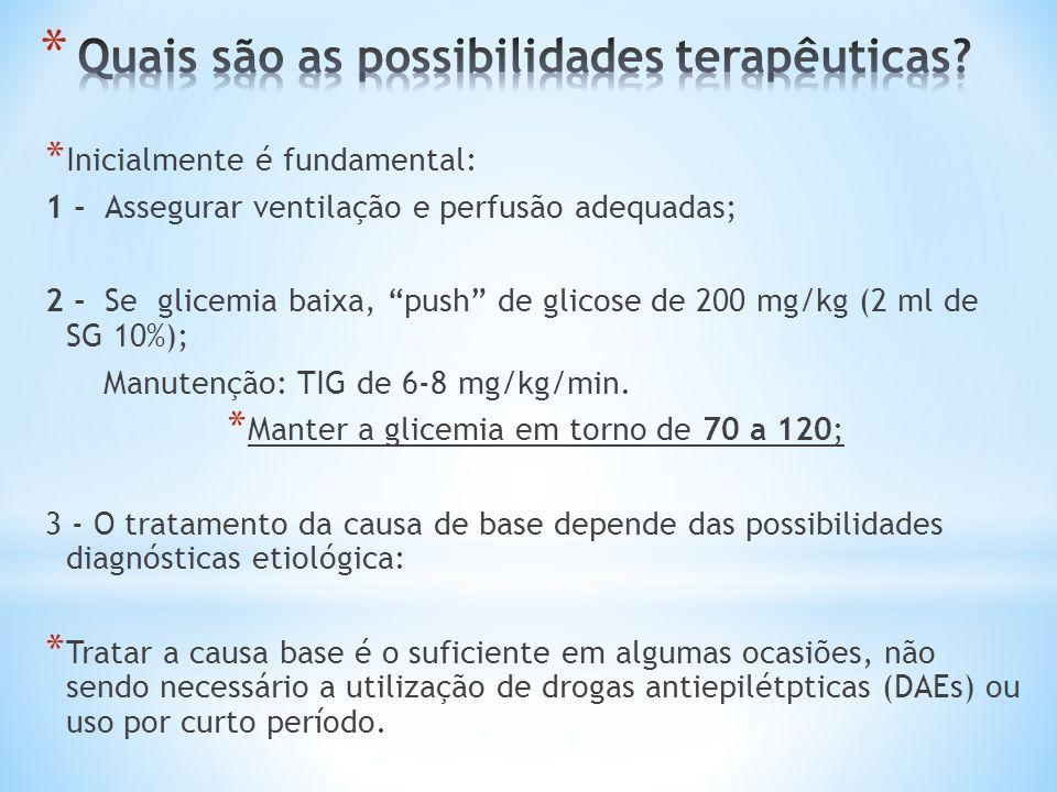 * Inicialmente é fundamental: 1 - Assegurar ventilação e perfusão adequadas; 2 - Se glicemia baixa, push de glicose de 200 mg/kg (2 ml de SG 10%); Man