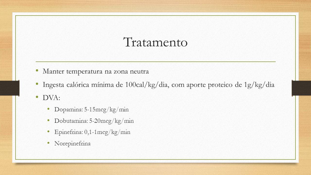 Tratamento Manter temperatura na zona neutra Ingesta calórica mínima de 100cal/kg/dia, com aporte proteico de 1g/kg/dia DVA: Dopamina: 5-15mcg/kg/min