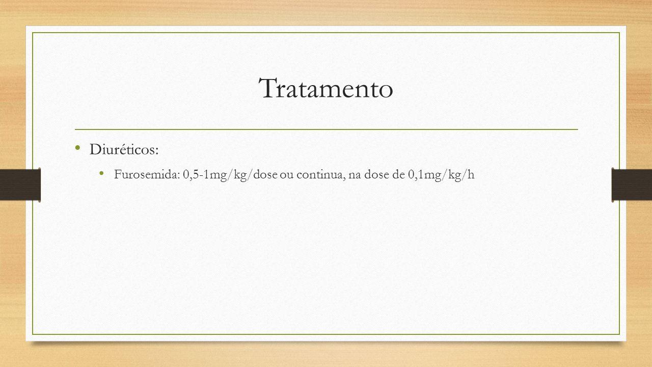 Tratamento Diuréticos: Furosemida: 0,5-1mg/kg/dose ou continua, na dose de 0,1mg/kg/h