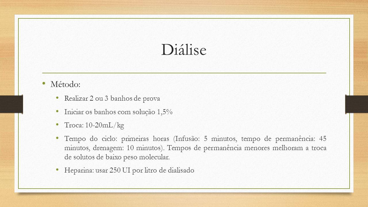 Diálise Método: Realizar 2 ou 3 banhos de prova Iniciar os banhos com solução 1,5% Troca: 10-20mL/kg Tempo do ciclo: primeiras horas (Infusão: 5 minut