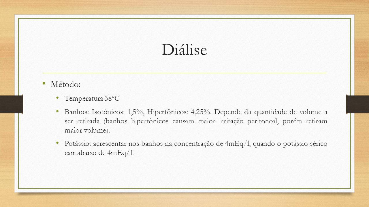 Diálise Método: Temperatura 38ºC Banhos: Isotônicos: 1,5%, Hipertônicos: 4,25%. Depende da quantidade de volume a ser retirada (banhos hipertônicos ca