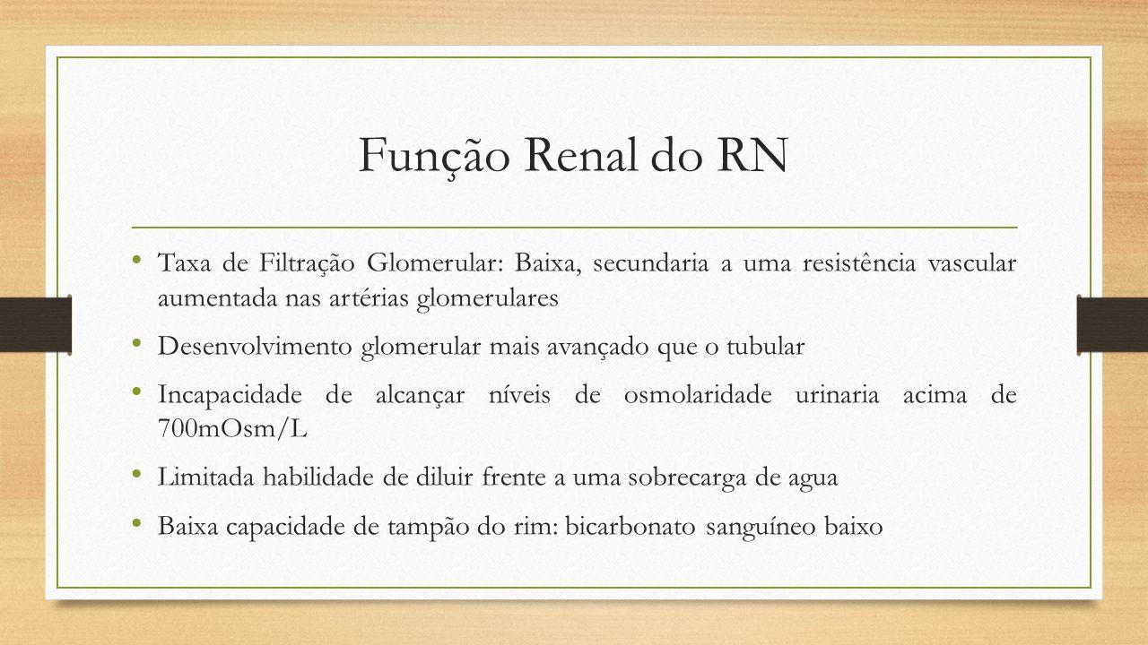 Função Renal do RN Taxa de Filtração Glomerular: Baixa, secundaria a uma resistência vascular aumentada nas artérias glomerulares Desenvolvimento glom