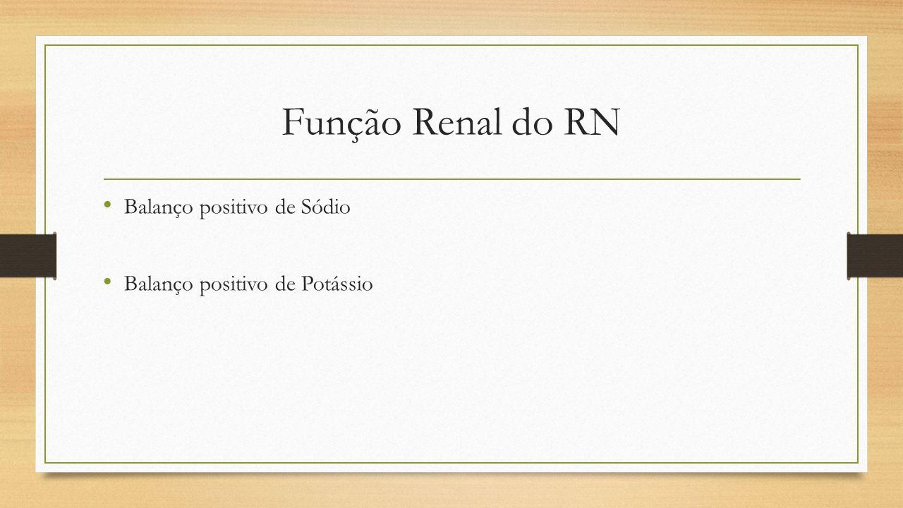 Função Renal do RN Balanço positivo de Sódio Balanço positivo de Potássio