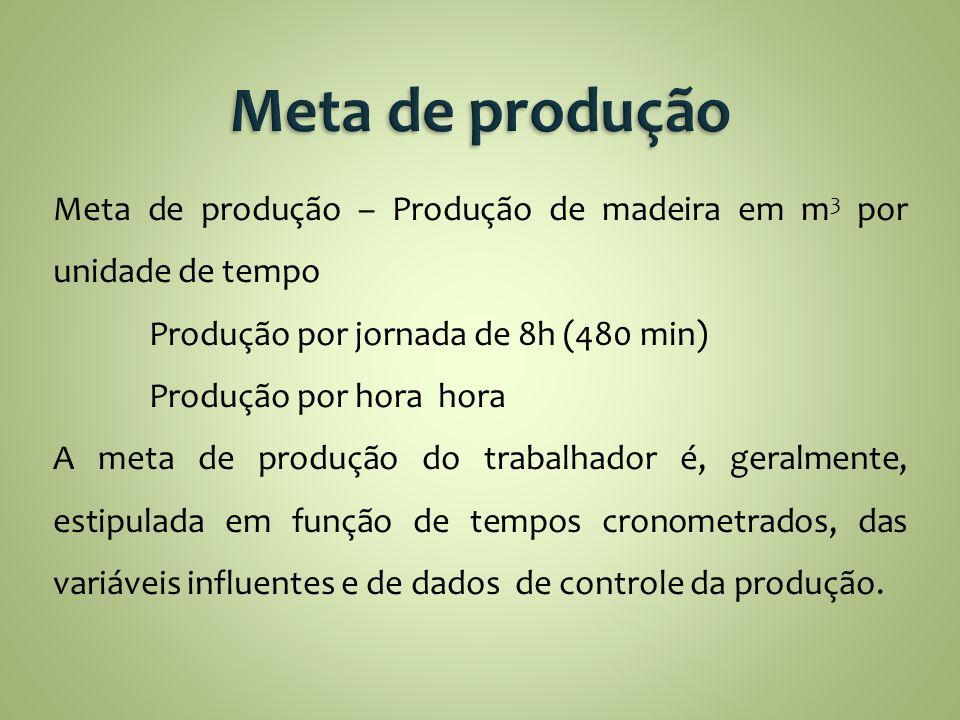 Meta de produção – Produção de madeira em m 3 por unidade de tempo Produção por jornada de 8h (480 min) Produção por hora hora A meta de produção do t