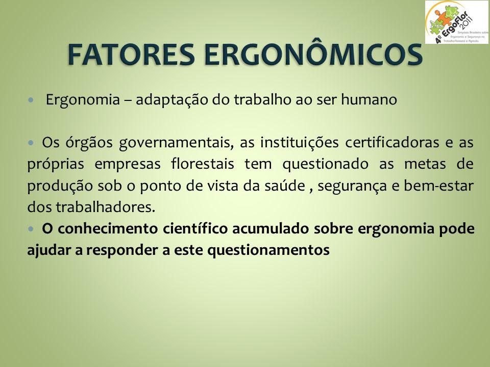Ergonomia – adaptação do trabalho ao ser humano Os órgãos governamentais, as instituições certificadoras e as próprias empresas florestais tem questio