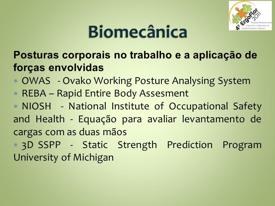 Posturas corporais no trabalho e a aplicação de forças envolvidas OWAS - Ovako Working Posture Analysing System REBA – Rapid Entire Body Assesment NIO
