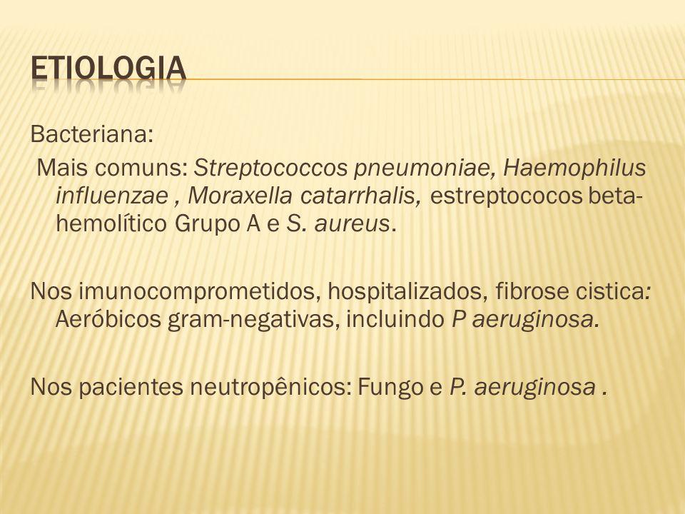 Bacteriana: Mais comuns: Streptococcos pneumoniae, Haemophilus influenzae, Moraxella catarrhalis, estreptococos beta- hemolítico Grupo A e S. aureus.