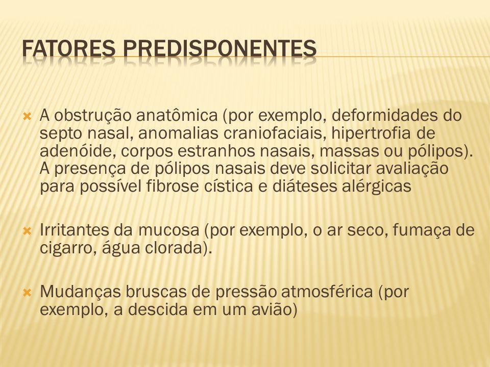 A obstrução anatômica (por exemplo, deformidades do septo nasal, anomalias craniofaciais, hipertrofia de adenóide, corpos estranhos nasais, massas ou