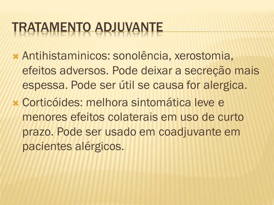 Antihistaminicos: sonolência, xerostomia, efeitos adversos. Pode deixar a secreção mais espessa. Pode ser útil se causa for alergica. Corticóides: mel
