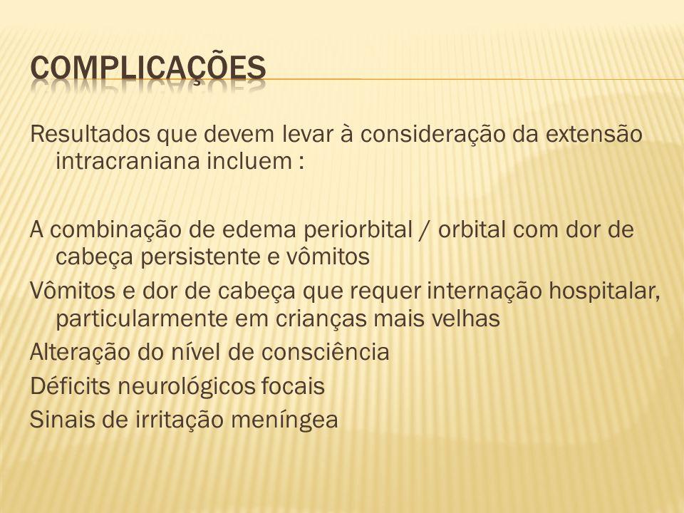 Resultados que devem levar à consideração da extensão intracraniana incluem : A combinação de edema periorbital / orbital com dor de cabeça persistent