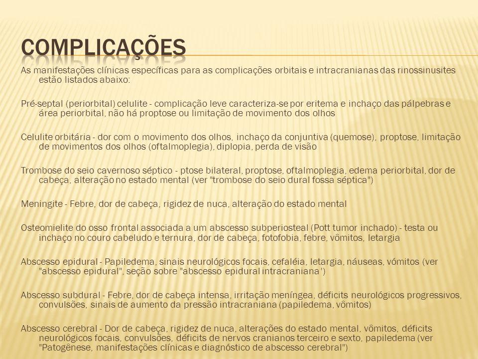 As manifestações clínicas específicas para as complicações orbitais e intracranianas das rinossinusites estão listados abaixo: Pré-septal (periorbital