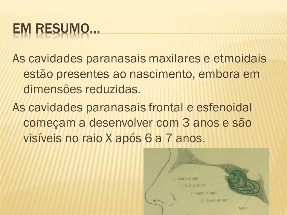 As cavidades paranasais maxilares e etmoidais estão presentes ao nascimento, embora em dimensões reduzidas. As cavidades paranasais frontal e esfenoid