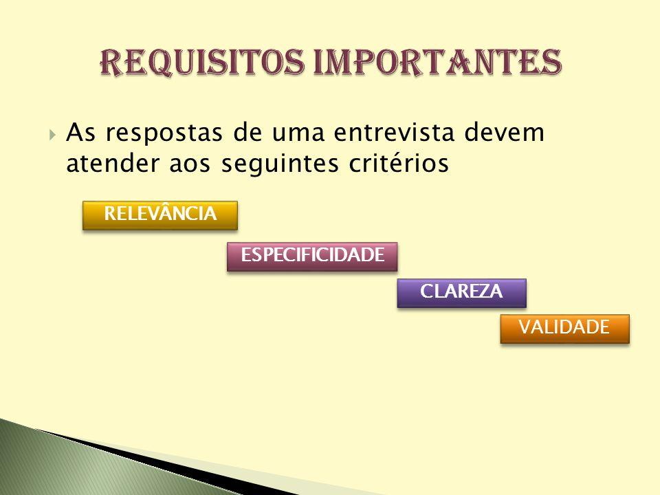 As respostas de uma entrevista devem atender aos seguintes critérios VALIDADE RELEVÂNCIA ESPECIFICIDADE CLAREZA