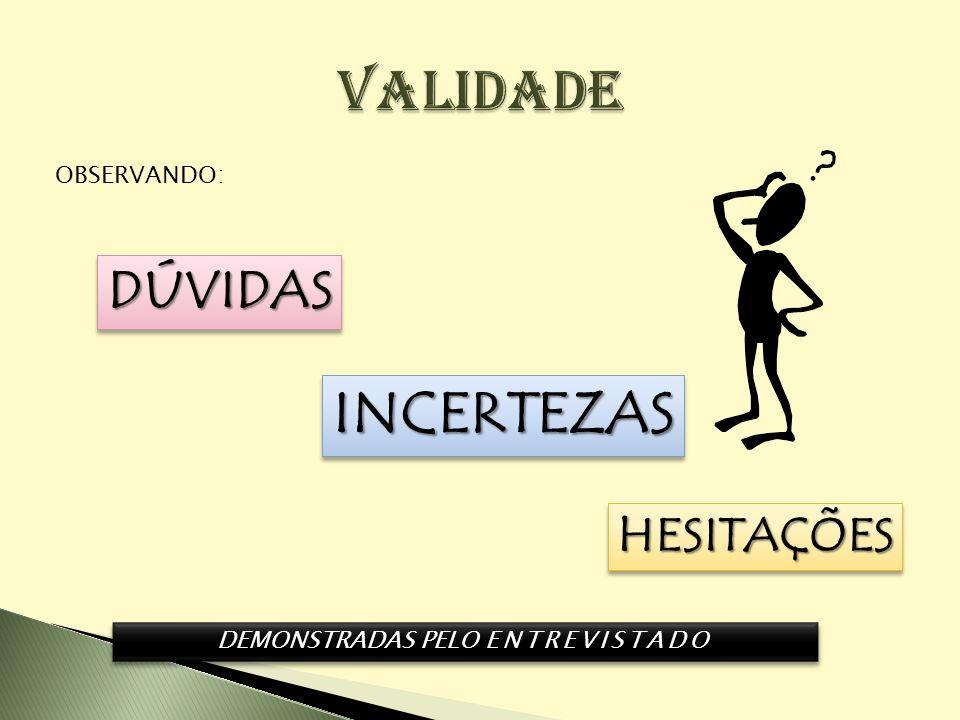 OBSERVANDO: DÚVIDASDÚVIDAS INCERTEZASINCERTEZAS HESITAÇÕESHESITAÇÕES DEMONSTRADAS PELO ENTREVISTADO