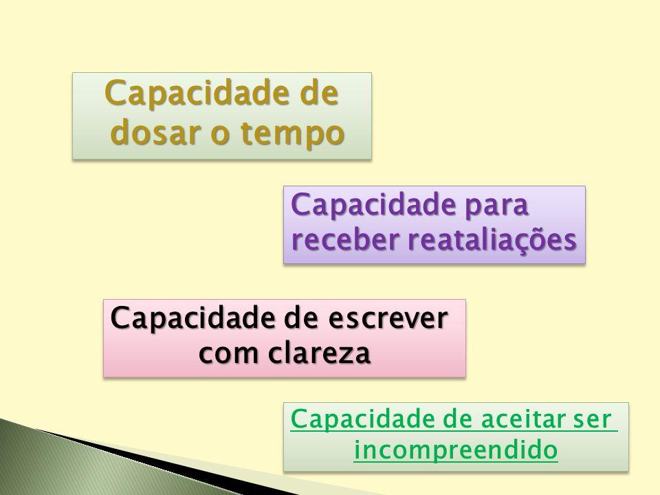 Capacidade de dosar o tempo dosar o tempo Capacidade de dosar o tempo dosar o tempo Capacidade para receber reataliações Capacidade para receber reata