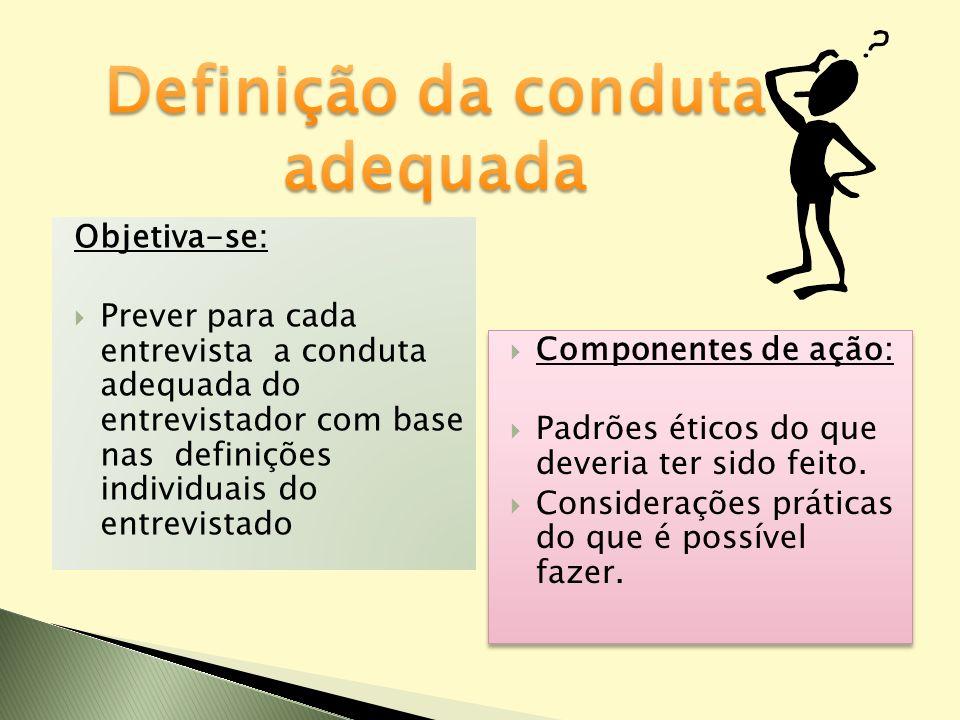 Objetiva-se: Prever para cada entrevista a conduta adequada do entrevistador com base nas definições individuais do entrevistado Componentes de ação: