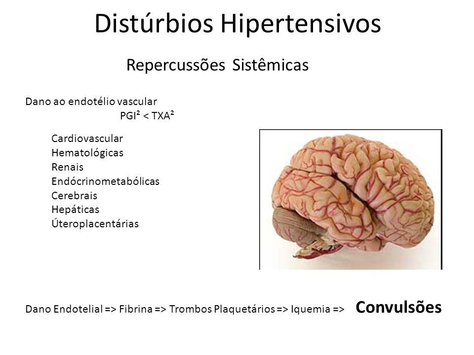Distúrbios Hipertensivos Repercussões Sistêmicas Cardiovascular Hematológicas Renais Endócrinometabólicas Cerebrais Hepáticas Úteroplacentárias Dano a