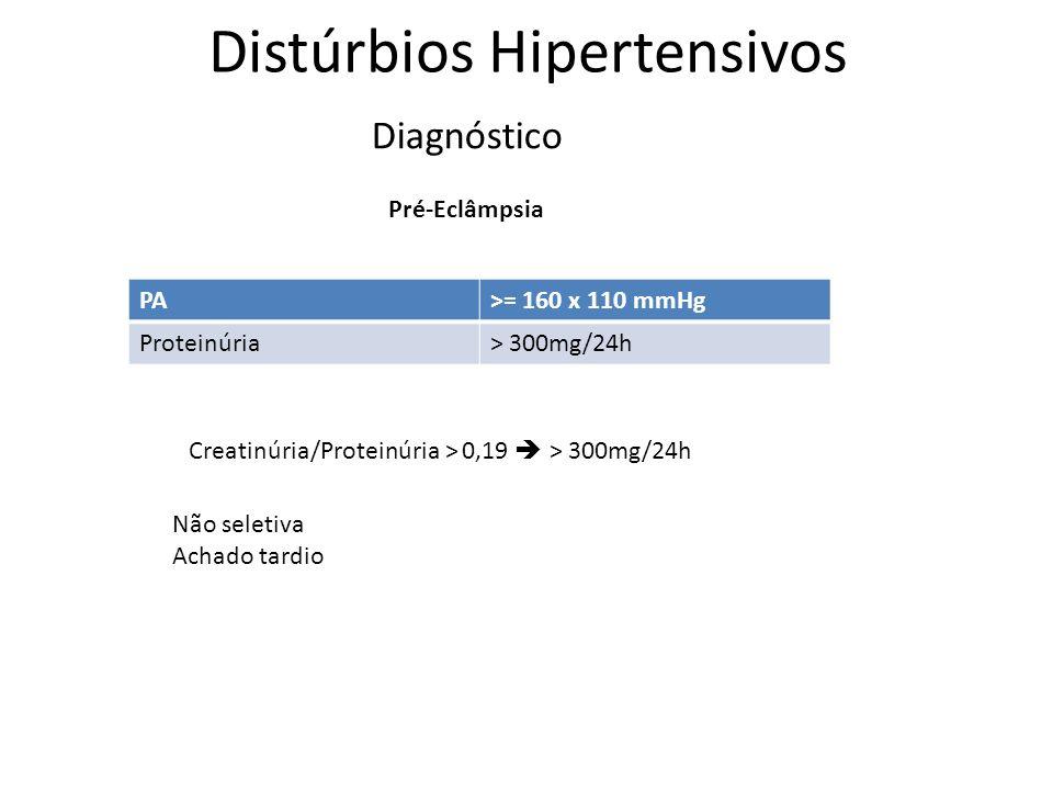 Distúrbios Hipertensivos Diagnóstico Pré-Eclâmpsia PA>= 160 x 110 mmHg Proteinúria> 300mg/24h Não seletiva Achado tardio Creatinúria/Proteinúria > 0,1
