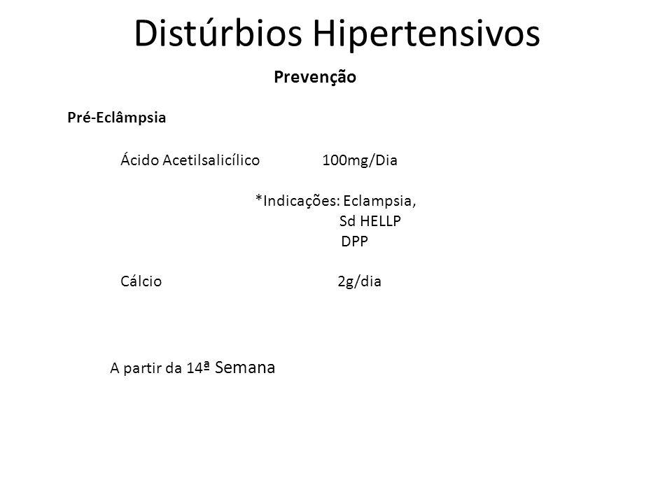Distúrbios Hipertensivos Prevenção Pré-Eclâmpsia Ácido Acetilsalicílico 100mg/Dia *Indicações: Eclampsia, Sd HELLP DPP Cálcio 2g/dia A partir da 14 ª