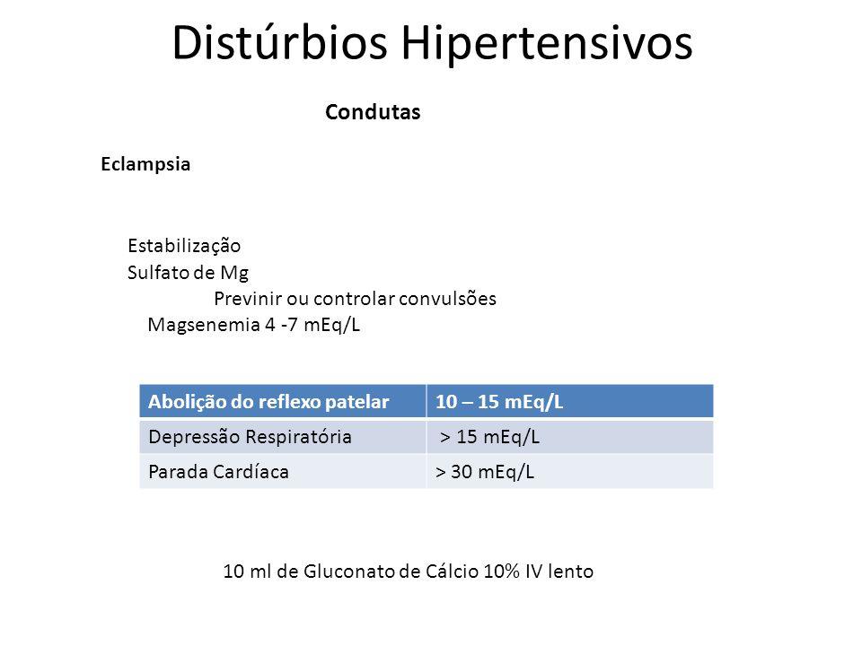 Distúrbios Hipertensivos Condutas Eclampsia Sulfato de Mg Previnir ou controlar convulsões Magsenemia 4 -7 mEq/L Abolição do reflexo patelar10 – 15 mE