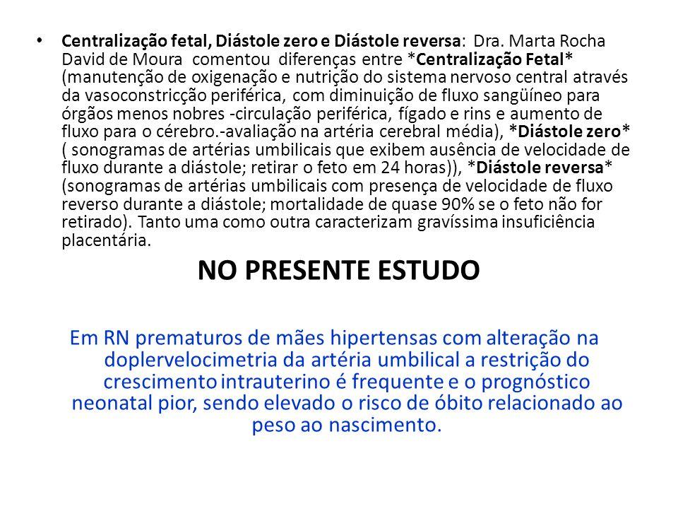 Centralização fetal, Diástole zero e Diástole reversa: Dra. Marta Rocha David de Moura comentou diferenças entre *Centralização Fetal* (manutenção de