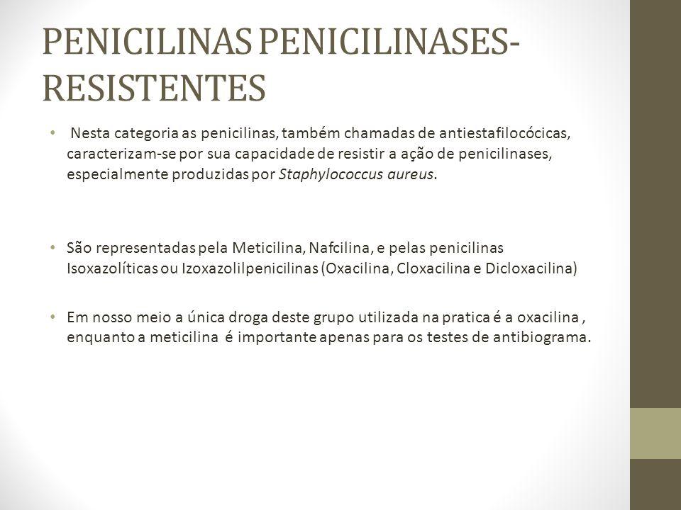 PENICILINAS PENICILINASES- RESISTENTES Nesta categoria as penicilinas, também chamadas de antiestafilocócicas, caracterizam-se por sua capacidade de resistir a ação de penicilinases, especialmente produzidas por Staphylococcus aureus.