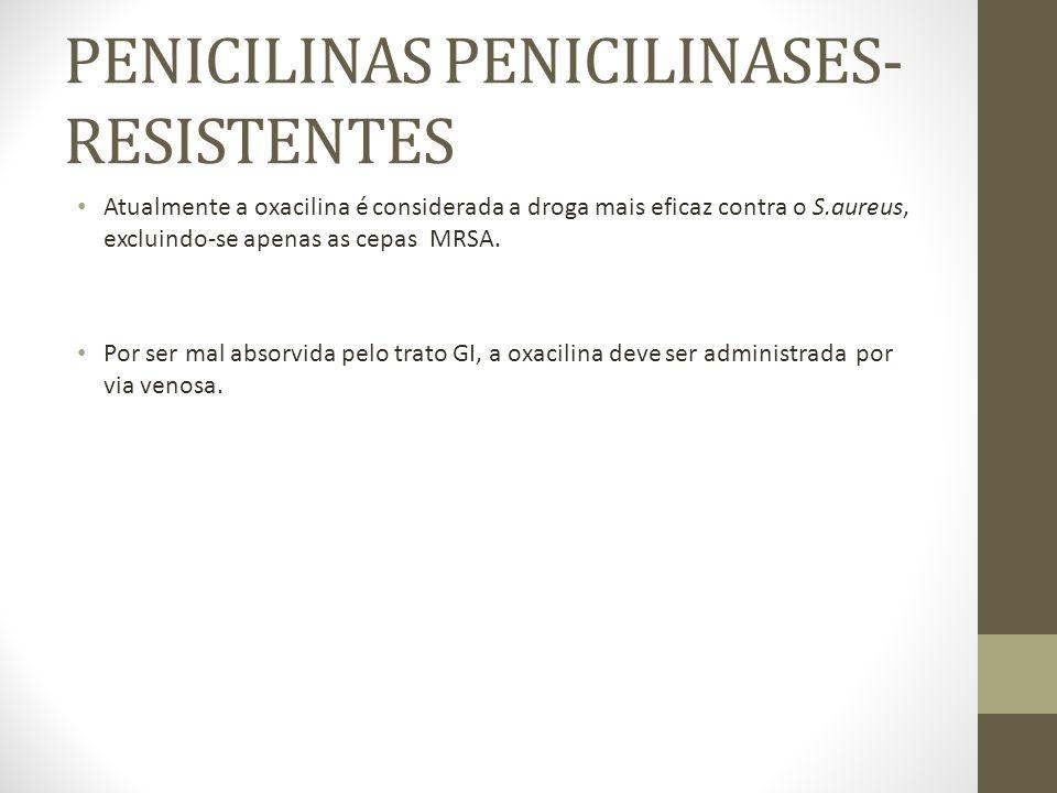 PENICILINA DE ESPECTRO AMPLIADO Estão nesse grupo: 1- Penicilinas da segunda geração ou Aminopenicilinas: Ampicilina, Amoxilina, Bacompicilina, Ciclacilina.