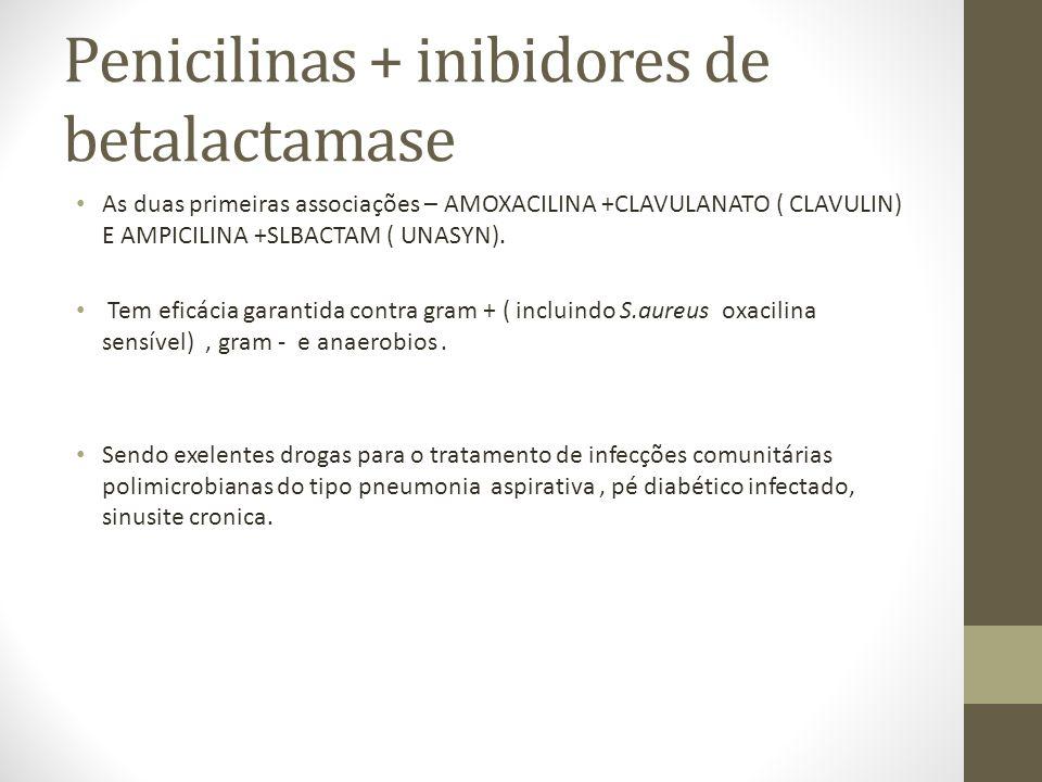 Penicilinas + inibidores de betalactamase As duas primeiras associações – AMOXACILINA +CLAVULANATO ( CLAVULIN) E AMPICILINA +SLBACTAM ( UNASYN).