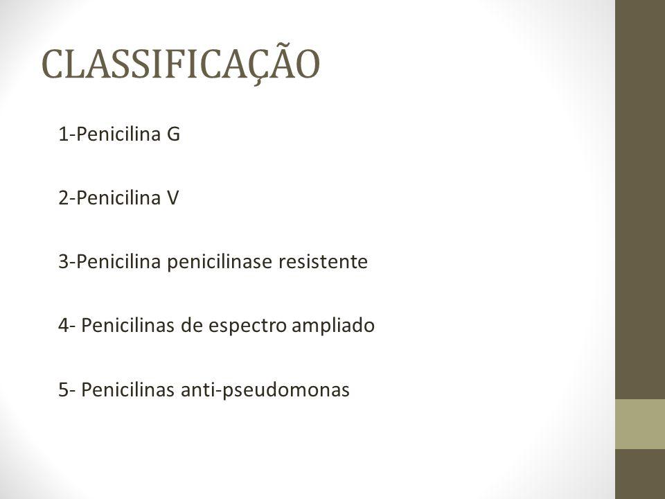 PENICILINA G (benzilpenicilina) -PENICILINA G CRISTALINA Via EV; uso em infecções graves e em internação hospitalar -PENICILINA G PROCAINA (despacilina) Via IM; uso em infecções de gravidade intermediaria (ex.