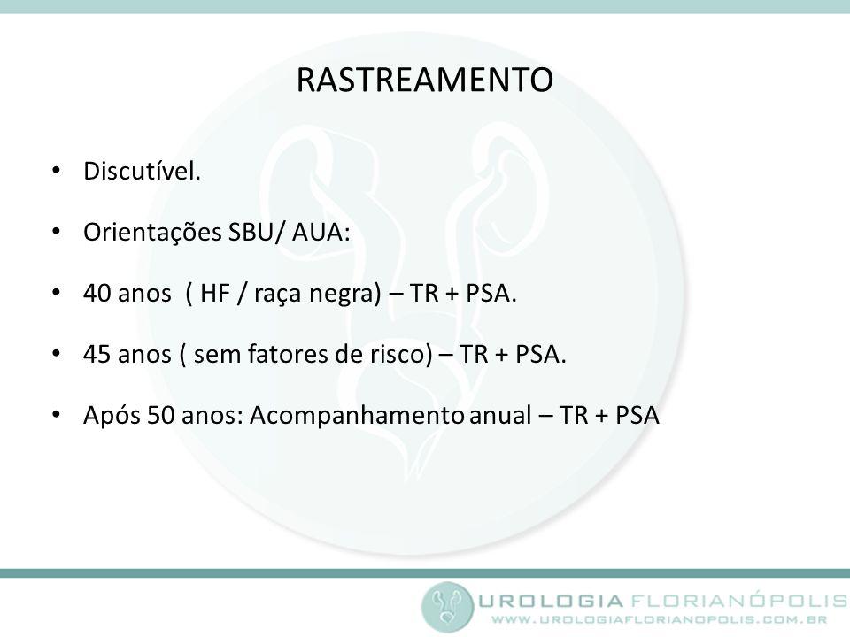 RASTREAMENTO Discutível.Orientações SBU/ AUA: 40 anos ( HF / raça negra) – TR + PSA.