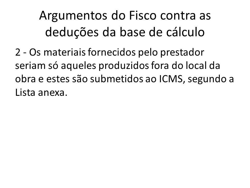 Argumentos do Fisco contra as deduções da base de cálculo 2 - Os materiais fornecidos pelo prestador seriam só aqueles produzidos fora do local da obr