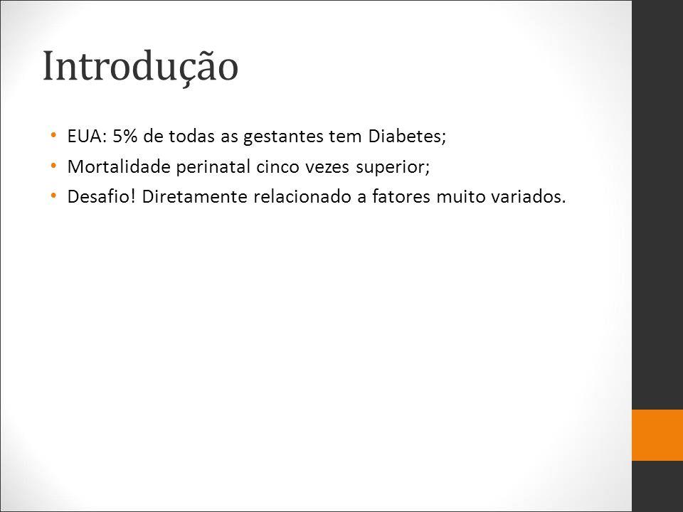 Introdução EUA: 5% de todas as gestantes tem Diabetes; Mortalidade perinatal cinco vezes superior; Desafio! Diretamente relacionado a fatores muito va