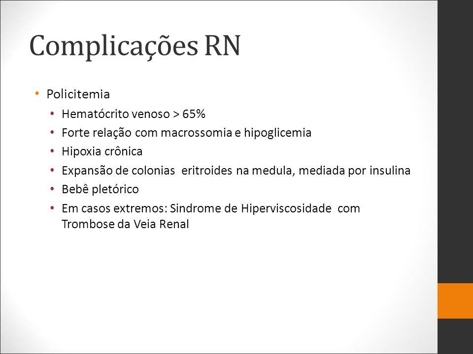 Complicações RN Policitemia Hematócrito venoso > 65% Forte relação com macrossomia e hipoglicemia Hipoxia crônica Expansão de colonias eritroides na m