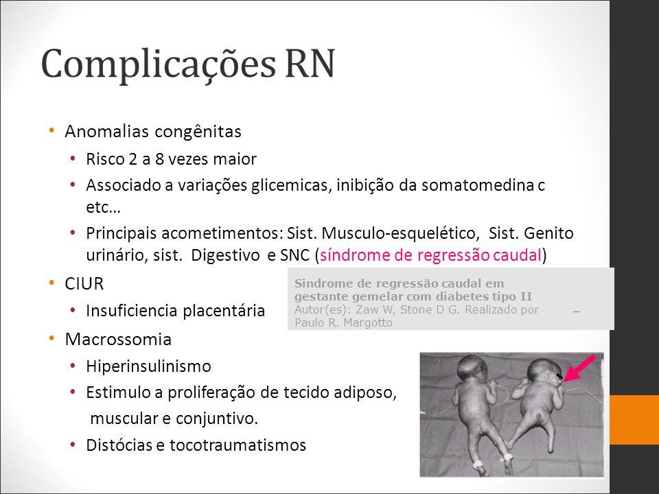 Complicações RN Anomalias congênitas Risco 2 a 8 vezes maior Associado a variações glicemicas, inibição da somatomedina c etc… Principais acometimento