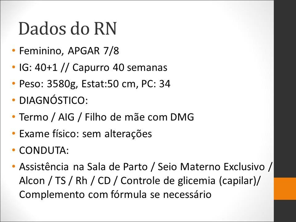 Dados do RN Feminino, APGAR 7/8 IG: 40+1 // Capurro 40 semanas Peso: 3580g, Estat:50 cm, PC: 34 DIAGNÓSTICO: Termo / AIG / Filho de mãe com DMG Exame