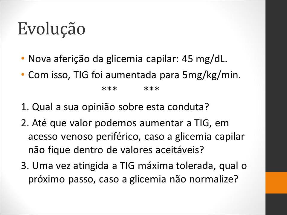 Evolução Nova aferição da glicemia capilar: 45 mg/dL. Com isso, TIG foi aumentada para 5mg/kg/min. *** *** 1. Qual a sua opinião sobre esta conduta? 2