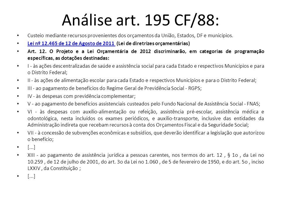 Análise art. 195 CF/88: Custeio mediante recursos provenientes dos orçamentos da União, Estados, DF e municípios. Lei nº 12.465 de 12 de Agosto de 201