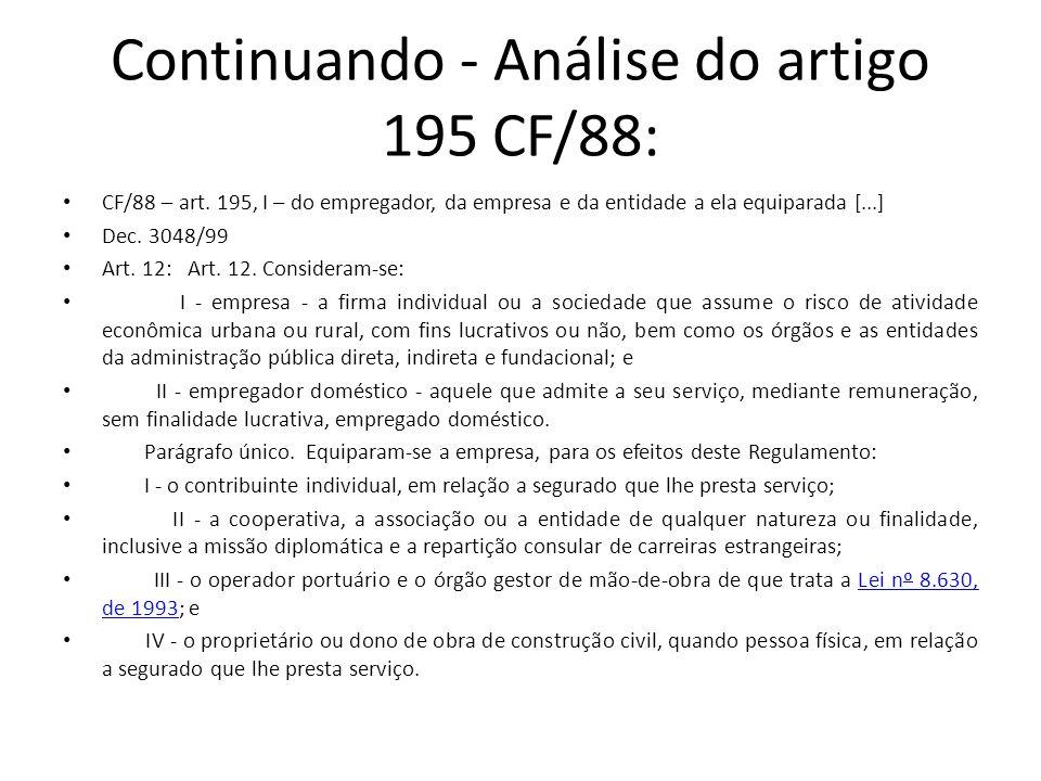 Continuando - Análise do artigo 195 CF/88: CF/88 – art. 195, I – do empregador, da empresa e da entidade a ela equiparada [...] Dec. 3048/99 Art. 12: