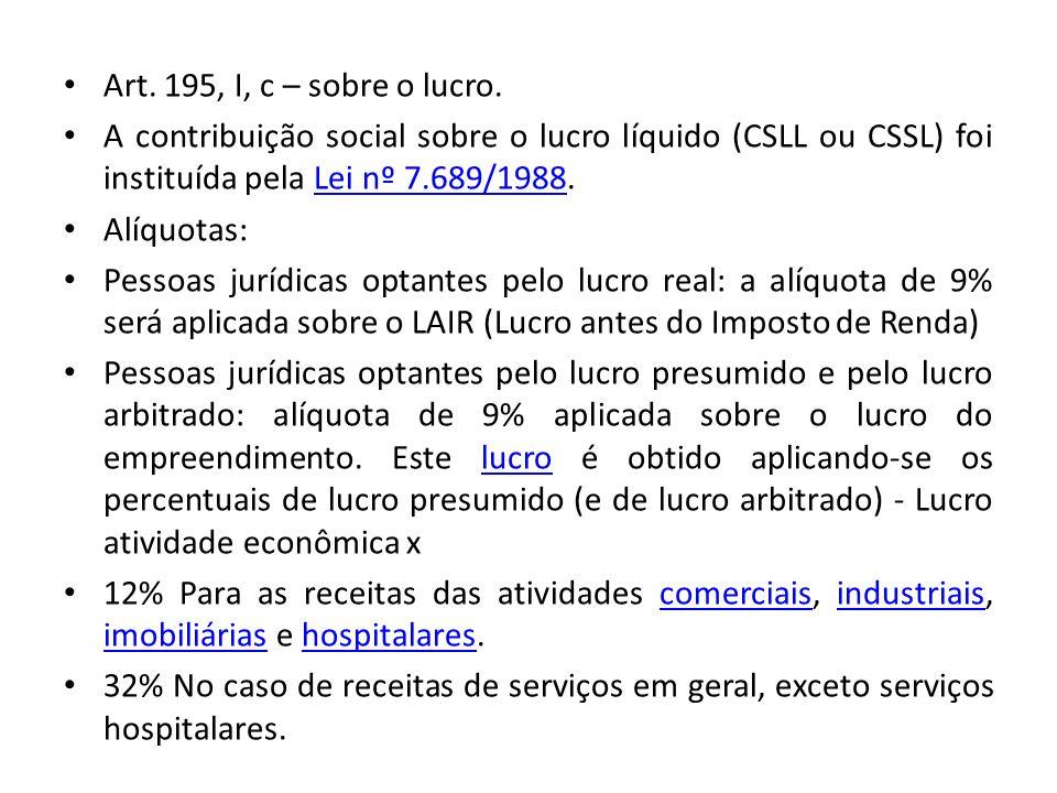 Art. 195, I, c – sobre o lucro. A contribuição social sobre o lucro líquido (CSLL ou CSSL) foi instituída pela Lei nº 7.689/1988.Lei nº 7.689/1988 Alí